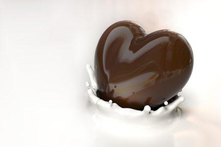 Un cuore di cioccolato nel latte