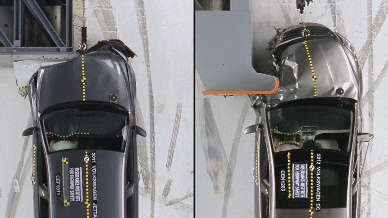Moderate Overlap (solda), Small Overlap (sağda) crash test