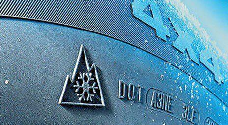 Kış lastiklerindeki kar tanesi (snowflake) işareti/sembolü